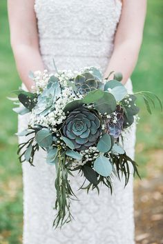 #katofloral #katofloraldesign #wedding #flowers #greenery #boho #bride #bouquet #succulent from Jessica + Mike | Married collection by Apt. B Photography