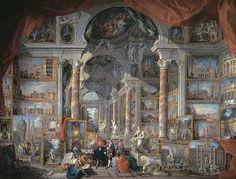 Giovanni Paolo Pannini - Galería con vista de Roma moderna