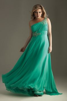 Fashion-Forward Crystals Backless Jade One-Shoulder A-Line Plus Size Prom Evening Dress