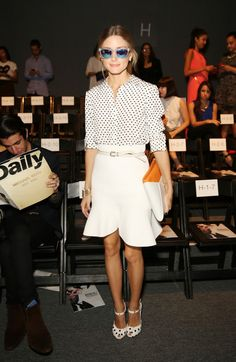 @roressclothes clothing ideas #women fashion Olivia Palermo: Flared White Knee Length Skirt