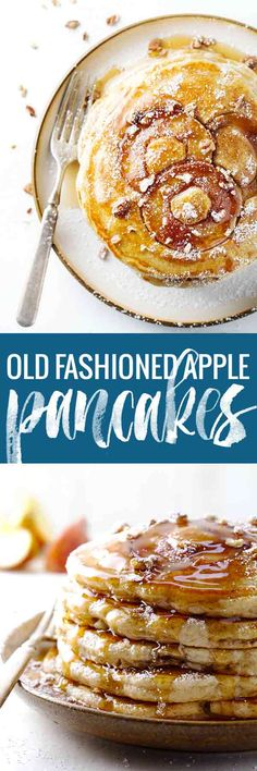 Old Fashioned Whole Wheat Apple Pancakes - the apples are baked right into these fluffy, old fashioned pancakes, and the topping possibilities are endless.