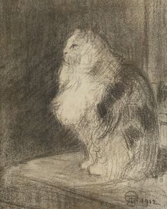 Théophile Alexandre Steinlen (Swiss-French, 1859 - 1923) The Cat (Chat), 1912 Charcoal drawing, 20.5 x 17 cm