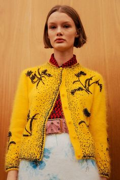 Women's Outfits : Backstage at Prada Wes Anderson film style fashion nostalgic bright vintage looks are en trend in 2017 with a vengeance now who's laughing at m… Knit Fashion, Fashion 2017, Runway Fashion, Fashion Looks, Womens Fashion, Fashion Trends, Style Fashion, Moda Crochet, Fashion Details