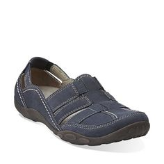 Clarks Originals - Haley Stork Navy Nubuck $90. Slip it on and go, go, go. This sporty, active-inspired nubuck slip-on offers non-stop comfort, thanks to a removable OrthoLite® footbed that cushions each step. Choose it in navy nubuck to pair with casual shorts and jeans.