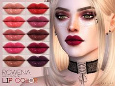 Rowena Lip Color N169 by Praline Sims for The Sims 4