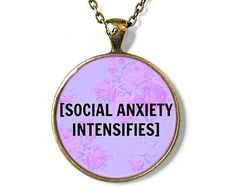 Pastel Goth 90s Soft Grunge Creepy Cute Bubblegum Nu Goth Antisocial [social anxiety intensifies] Necklace - Funny Socially Awkward Jewelry