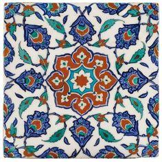 Carreau en céramique d'Iznik, Turquie, art ottoman, vers 1575.