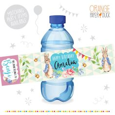 10 X Water Bottle Labels PETER RABBIT These playful personalised childrens bottle labels are perfect for your childs birthday party. Fun and cute they will brighten up any celebration! The bottle wrapper is 5 x 20 cm and fits most 500ml water bottles. They arrive pre cut and ready