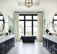 Home Decoration Interior .Home Decoration Interior Black Bathtub, Black Tub, Black Window Frames, Home Luxury, Custom Builders, Boho Home, French Country House, Country Style, French Cottage