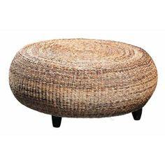 Natural Woven Rattan Ottoman (Sea Grass)