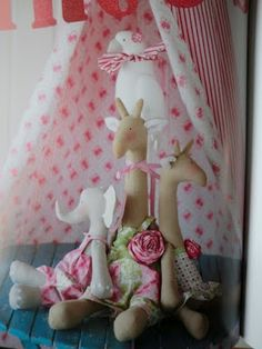 girafa de tecido  Tilda  com molde - patchwork