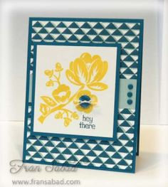 Hey There Buds 01  Stamp Sets – Dotty Angles, Hey There Buds  Card stock – Island Indigo, Whisper White, Pool Party  Ink – Island Indigo, Pool Party, Daffodil Delight  Etc – Regal buttons, Baker's Twine, Regal Candy dots