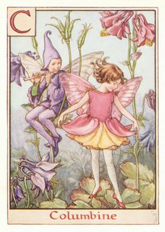 Columbine Antique Alphabet Fairy Print