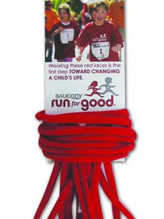 Join the race against childhood obesity by lacing up your favorite pair of running shoes with Red Laces. For only 1$ you can support the Saucony Run For Good program, a foundation committed to supporting non-profit organizations that will help kids get fit and healthy.