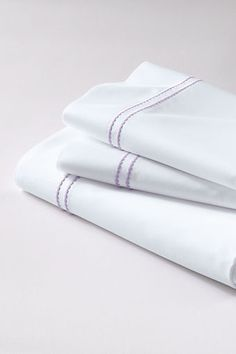 Tailored Hotel Sateen Embroidered Dot Sheet Set or Pillowcase from Lands End in lilac