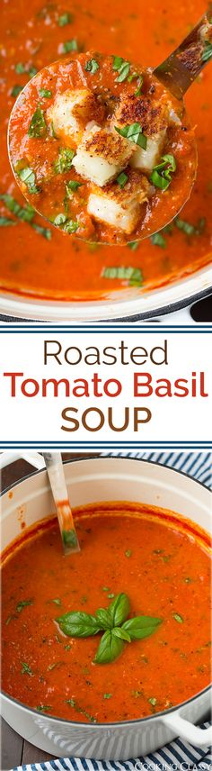 Roasted Tomato Basil Soup {Grilled Cheese Croutons} – Cooking Classy Roasted Tomato Basil Soup (with optional grilled cheese croutons) – this soup is incredibly good! So much fresh flavor and requires minimal ingredients. Roasted Tomato Basil Soup, Roasted Tomatoes, Tomatoe Basil Soup Recipe, Homemade Tomato Basil Soup, Fresh Tomato Soup, Homemade Pesto, Homemade Cheese, Vegetarian Recipes, Cooking Recipes