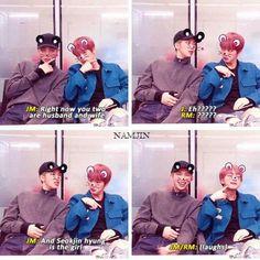 Mom and dad haha so cute. Jimin understands us, he ships Namjin too Bts E Got7, Bts Jin, Bts Bangtan Boy, Namjin, Bts Memes, Funny Memes, Seokjin, Yoonmin, Jikook