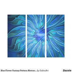 Blossom Kaleidoscope Fractal Abstract 3 Panel Triptych Poster Wall Art Print