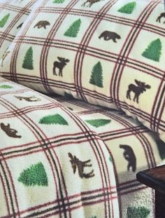 NORTHCREST FLEECE SHEET SET TWIN ANTI-PILL FINISH BEAR MOOSE TREES NATURE $69.99 in Home & Garden, Bedding, Sheets & Pillowcases | eBay