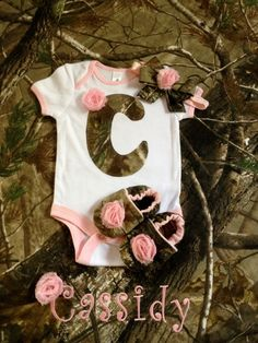 Baby girl camo, real tree gift set, onesie, shoes and hair bow on Etsy, $45.00