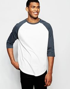 ASOS Oversized 3/4 Sleeve T-Shirt With Contrast Raglan And Curved Hem In Cream