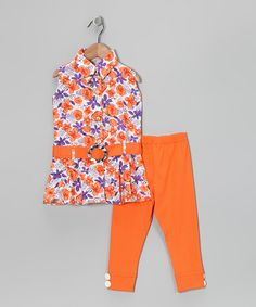 Take a look at this Blue Curl Orange & Purple Floral Tunic & Leggings by Blue Curl on #zulily today!