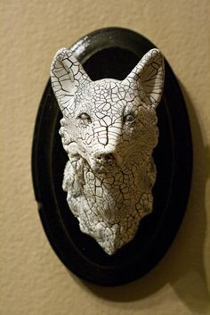 Hand-Made OOAK Arctic Wolf Wall Mount - Wall Art - Faux Taxidermy. $59.99, via Etsy.