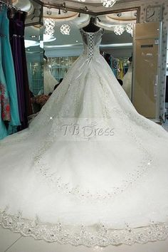 Luxury Straps Beading  Chapel Train  Ball Gown Wedding Dress
