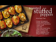 Roasted stuffed peppers - Recipes - Slimming World. Cheap to make and good for lunch Slimming World Lunch Ideas, Vegan Slimming World, Vegetarian Recipes, Healthy Recipes, Healthy Options, Quiche Recipes, Slimming World Recipes, Living At Home, Desert Recipes