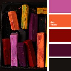 Color Palette #1775 - oriental style: light violet, orange, dark red, eggplant/burgundy and black