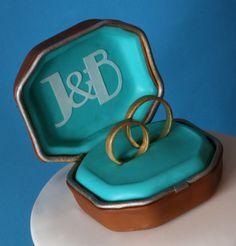 Cake Topper Wedding Ring Box - Gum Paste / Sugar