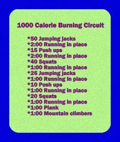 There's no way this is 1000 calories! Running burns the most calories per minute but you still have to run 10 miles(an hour of running) to burn 1000 calories
