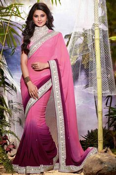 Buy Pink Georgette Party Wear Saree Online in low price at Variation. Huge collection of Party Wear Sarees for Party, Festivals, Engagements and Ceremonies. #party #partywearsarees #sarees #onlineshopping #latest #lowprice #variation. To see more - https://www.variationfashion.com/collections/party-wear-sarees