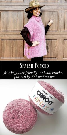 Free tunisian crochet poncho pattern that is beginner friendly (no increases / decreases). It is made with only 2 stitches - Simple Stitch and Purl Stitch! Tunisian Crochet Patterns, Knitting Patterns, Knitting Tutorials, Lace Patterns, Crochet Granny, Lace Knitting, Stitch Patterns, Honeycomb Stitch, Ladies Poncho
