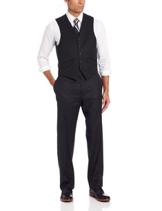 c3aa60120 Haggar Mens Solid Suit Separate Vest Black 40 R    Want to know more