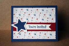 Set of 12 Patriotic Invitation Cards Can Be by SentimentalThings. $15.00 USD, via Etsy.