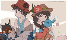 """kawacy: """" The Protagonists from the upcoming 2017 Pokemon UltraSun & UltraMoon Bless you Nintendo for always releasing Pokemon on my birthday and R. Pokemon Alola, Pokemon People, Pokemon Comics, Pokemon Fan Art, Cute Pokemon, Pikachu, Pokemon Images, Pokemon Pictures, Pokemon Game Characters"""