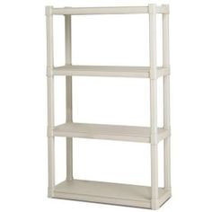 Home/Garage Heavy Duty Plastic 4 Shelves Shelving Storage Organizer Unit! Plastic Shelving Units, Garage Shelving Units, Garage Storage, Shelf Units, Attic Storage, Garage Organization, Closet Shelving, Pantry Storage