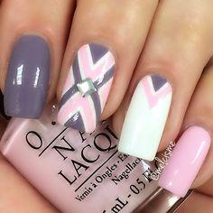 Pink, grey and white geometric nail art, using OPI: Mod About You. Photo taken by meƖıssɑ ❤︎ - INK361