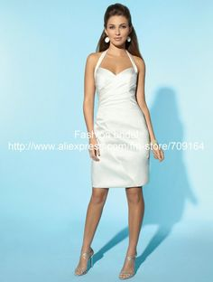 Elegant Sheath Halter Satin SW072 Knee-length Short Bridal Wedding Dresses