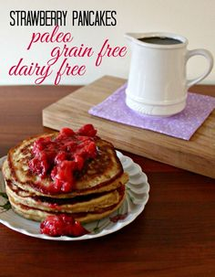 Craving baked goods for breakfast? This #paleo pancake recipe is close enough to a strawberry muffin #recipe that it takes care of all of my cravings.