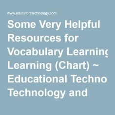 Some Very Helpful Resources for Vocabulary Learning (Chart) ~ Educational Technology and Mobile Learning