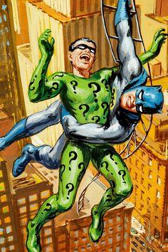 Batman and Riddler Norman Saunders Trading Card Batman Et Superman, Batman 1966, Batman Robin, The Riddler, Batman Riddler, Batman Arkham, Catwoman, Batgirl, Comic Books Art