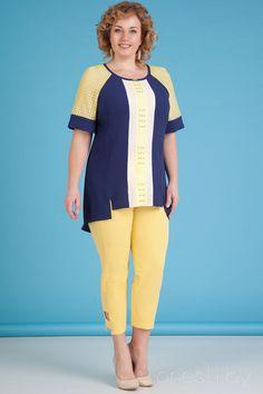Комплект брючный Лилиана 643 желтый с синим Suit Fashion, Fashion Pants, Fashion Dresses, Womens Fashion, Plus Size Party Dresses, Plus Size Outfits, High Tea Dress, Blouse Styles, Clothing Patterns