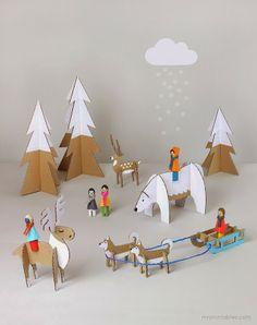 Free printables to create animals - Peg Dolls Winter Wonderland / diy cardboard toy templates / Mr Printables Cardboard Toys, Paper Toys, Cardboard Animals, Cardboard Playhouse, Cardboard Furniture, Fun Crafts For Kids, Diy For Kids, Kids Fun, Peg Doll