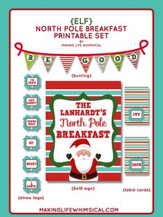 Personalized Elf North Pole Breakfast. Welcome your Elf with this adorable Printable Set.