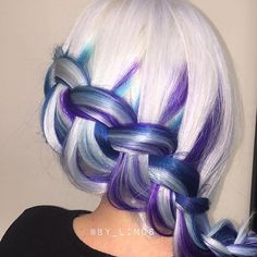 ❄️ We love this icy color design and braided style by @by_linds! #hotonbeauty . . . . #purplehair #purplehaircolor #whitehair #snowwhitehair #bluehair #bluehaircolor #braid #braids #braidedstyle #braidedstyles