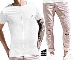 dusty pink ripped jeans teamed with white T-shirt