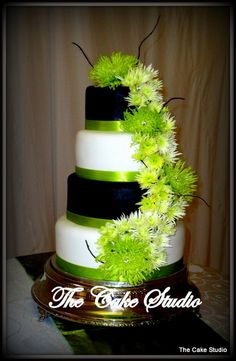 white and black and lime green wedding cakes - Google Search