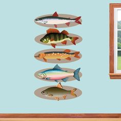 Mounted Fish Set Printed Wall Decals Home Décor Wall Decals